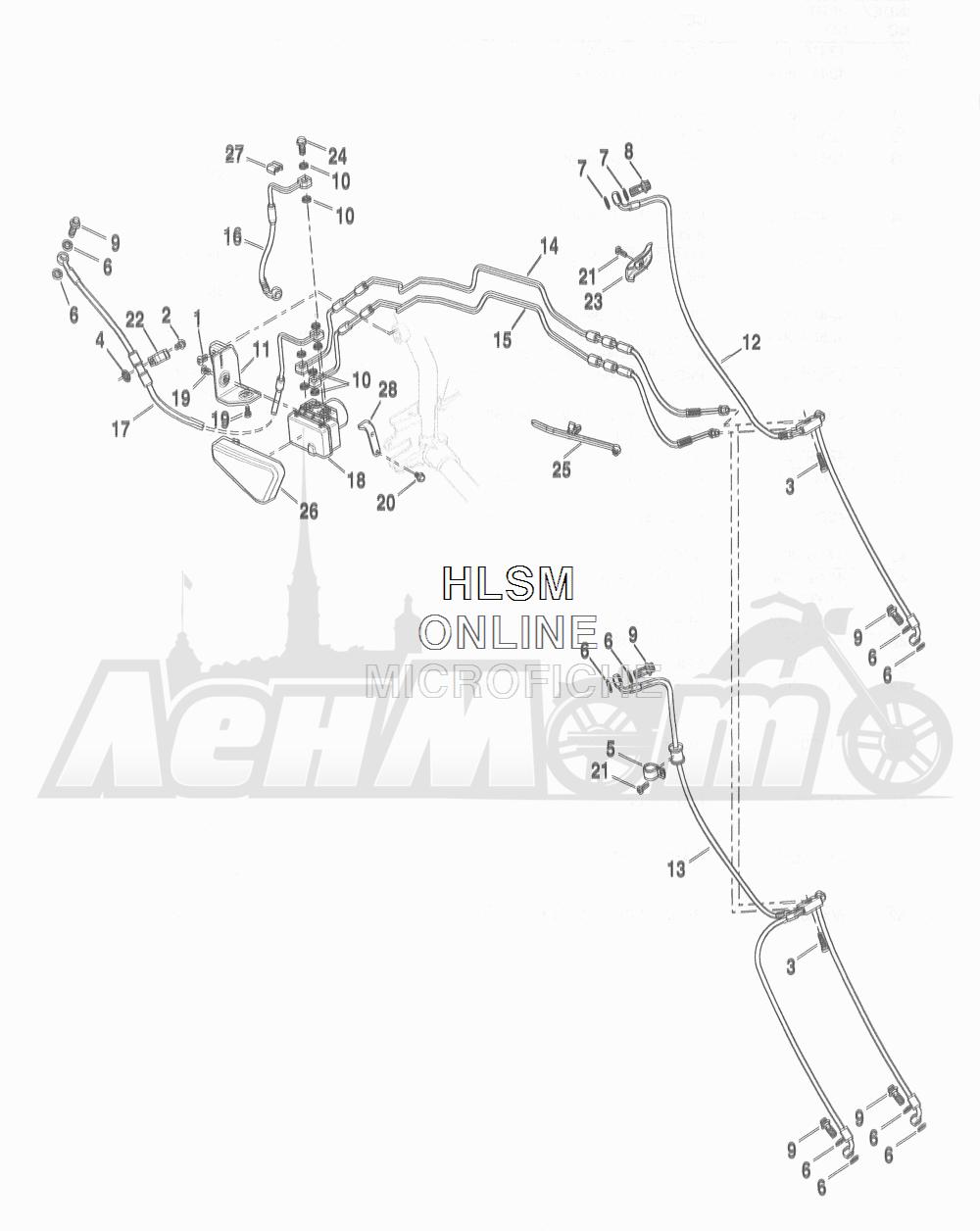 Запчасти для Мотоцикла Harley-Davidson 2016 FLD DYNA 96 SWITCHBACK (GZ4) Раздел: BRAKE - W/ MODULE AND LINES (ABS) | тормоза вместе с модуль и магистрали (ABS)