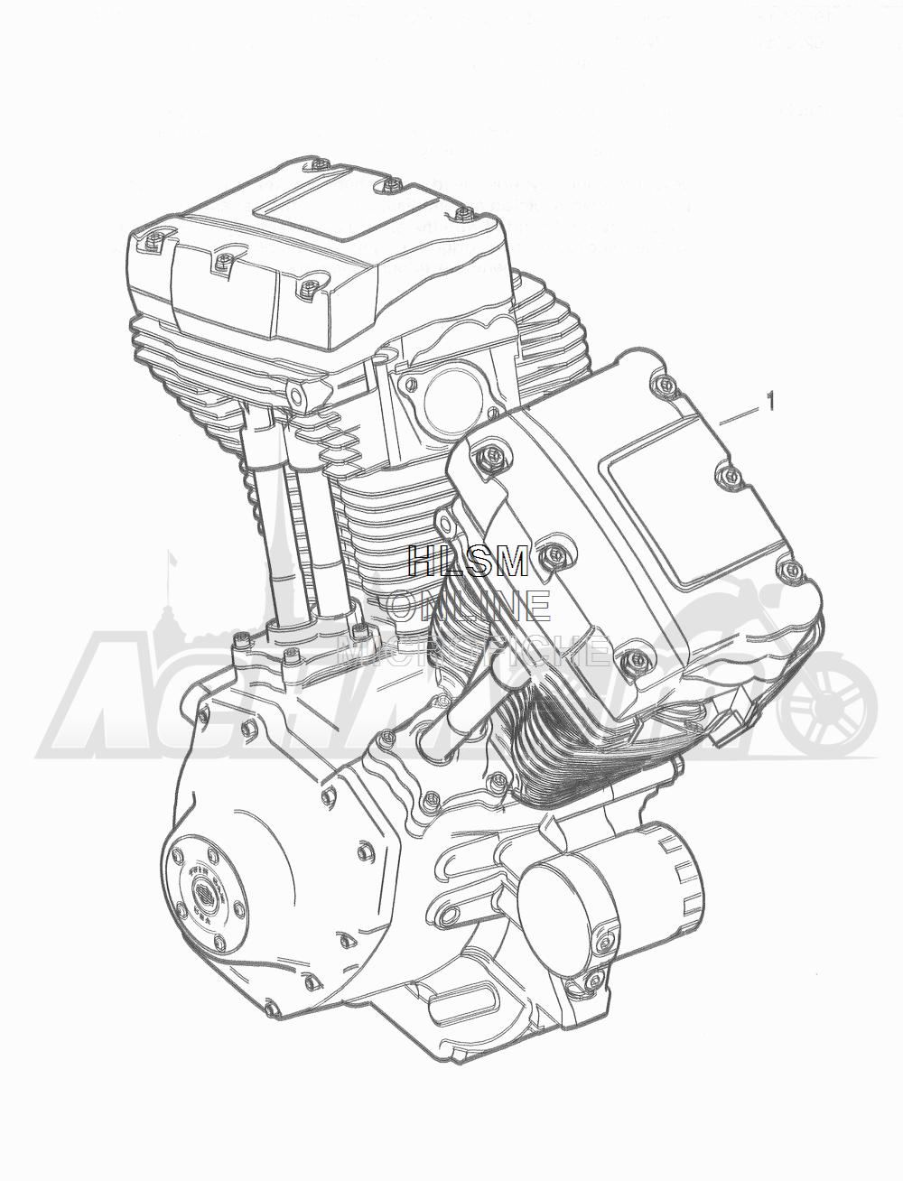 Запчасти для Мотоцикла Harley-Davidson 2016 FLD DYNA 103 SWITCHBACK (GZM) Раздел: ENGINE ASSEMBLY (HIGH OUTPUT) | двигатель в сборе (высокий выход)