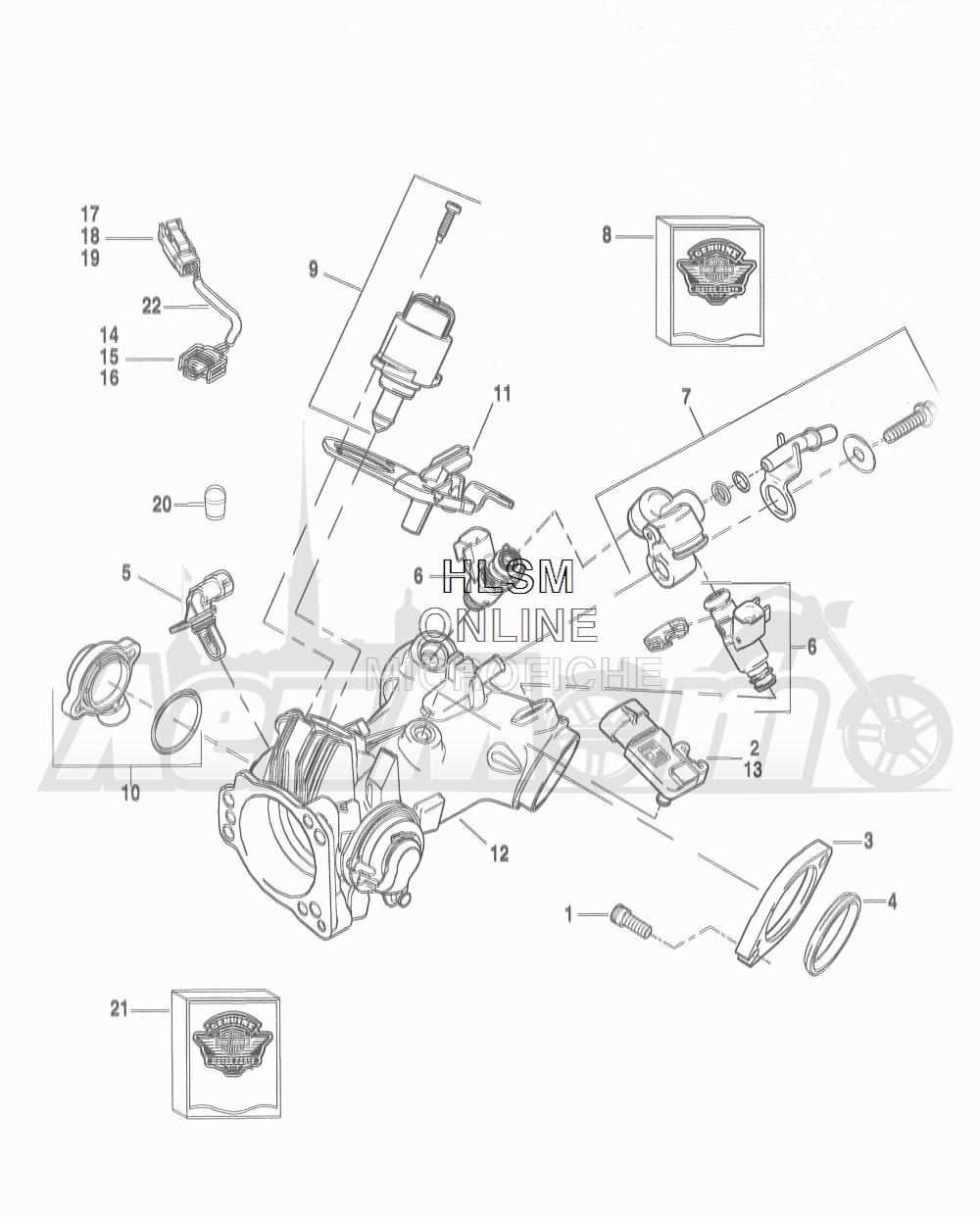 Запчасти для Мотоцикла Harley-Davidson 2016 FLD DYNA 103 SWITCHBACK (GZM) Раздел: THROTTLE BODY - INDUCTION MODULE | дроссельный узел индукционный модуль