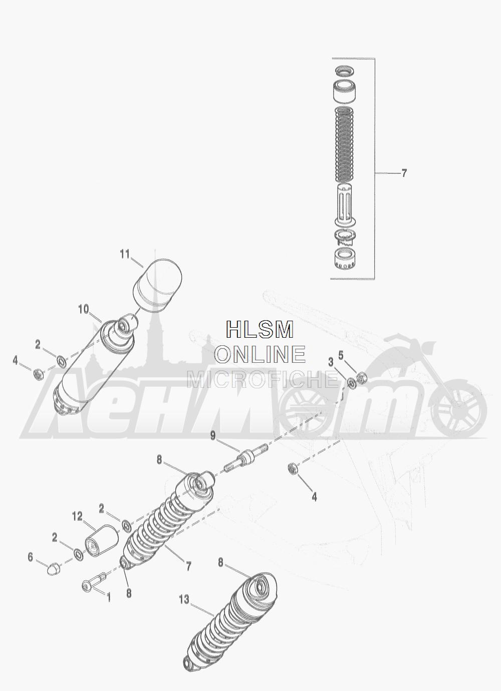 Запчасти для Мотоцикла Harley-Davidson 2016 FLD DYNA 103 SWITCHBACK (GZM) Раздел: SUSPENSION - REAR SHOCK ABSORBERS | задняя подвеска амортизаторы