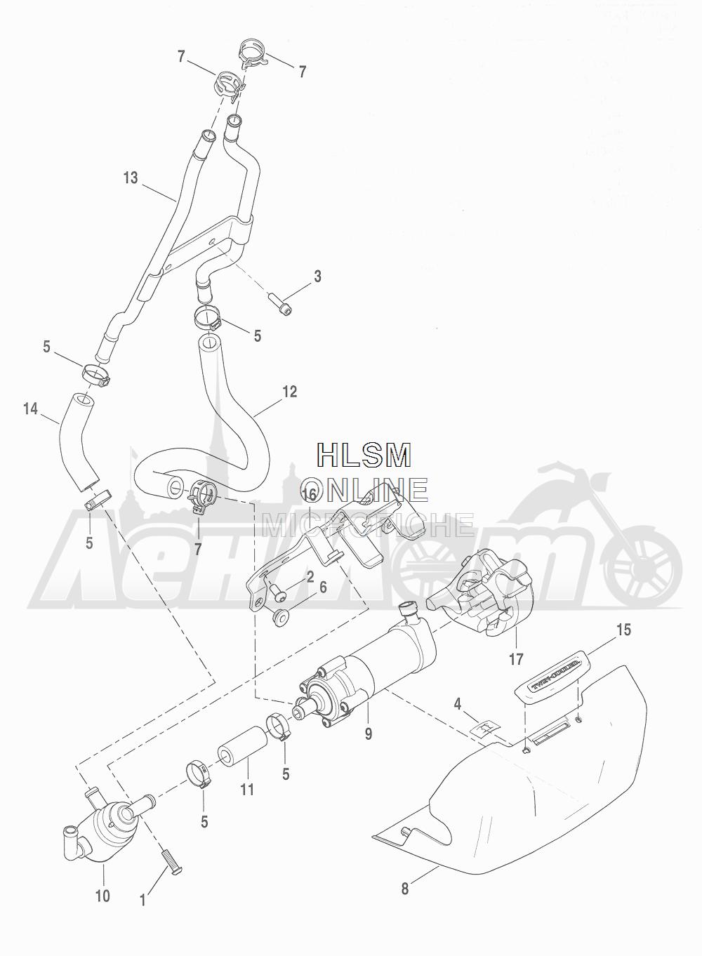 Запчасти для Мотоцикла Harley-Davidson 2016 CVO ROAD GLIDE ULTRA (TA) Раздел: COOLANT - PUMP/HOSES | охлаждающая жидкость насос/шланги