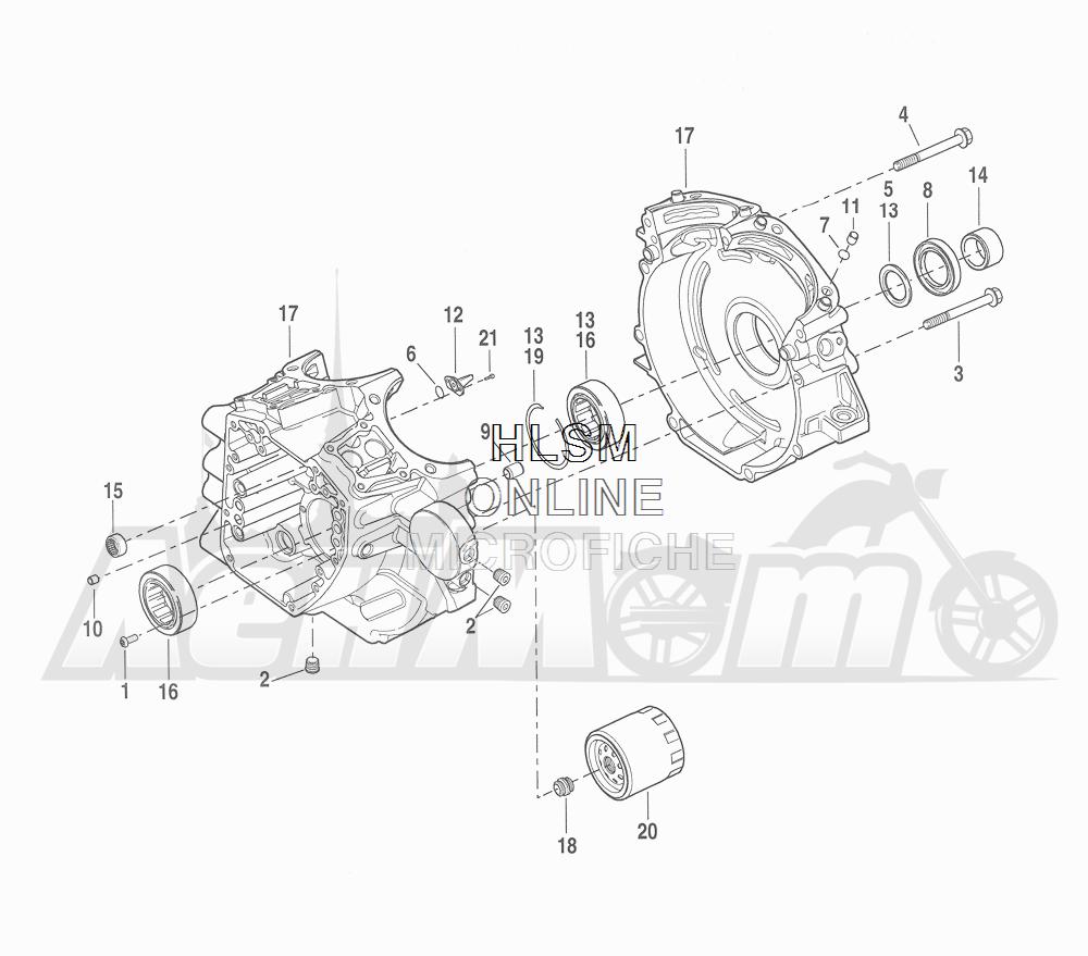Запчасти для Мотоцикла Harley-Davidson 2016 CVO ROAD GLIDE ULTRA (TA) Раздел: CRANKCASE ASSEMBLY W/ OIL FILTER - COOLER | картер в сборе вместе с масляный фильтр кулер