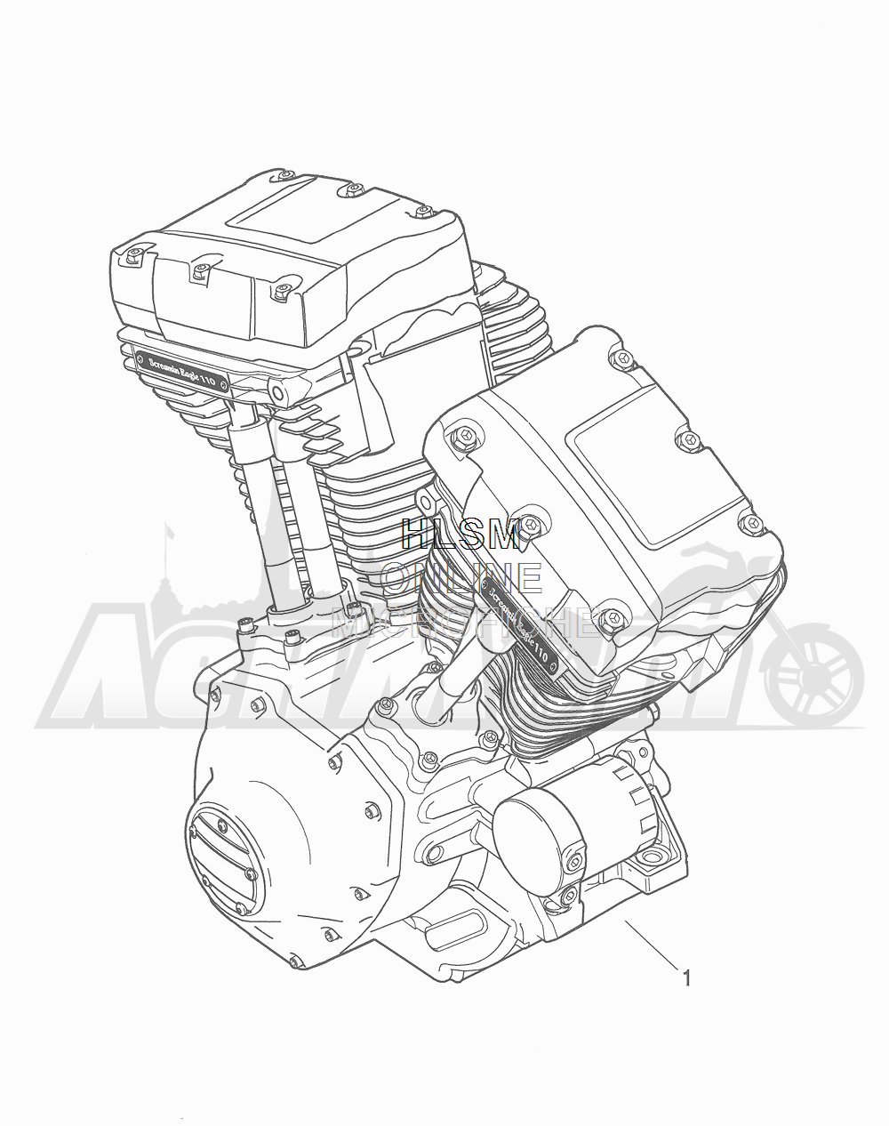 Запчасти для Мотоцикла Harley-Davidson 2016 CVO ROAD GLIDE ULTRA (TA) Раздел: ENGINE ASSEMBLY   двигатель в сборе
