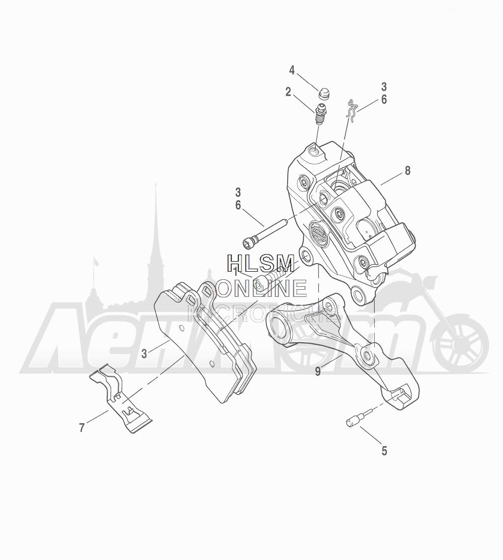 Запчасти для Мотоцикла Harley-Davidson 2016 CVO ROAD GLIDE ULTRA (TA) Раздел: BRAKE - REAR BRAKE CALIPER ASSEMBLY | задний тормоз тормозной суппорт в сборе