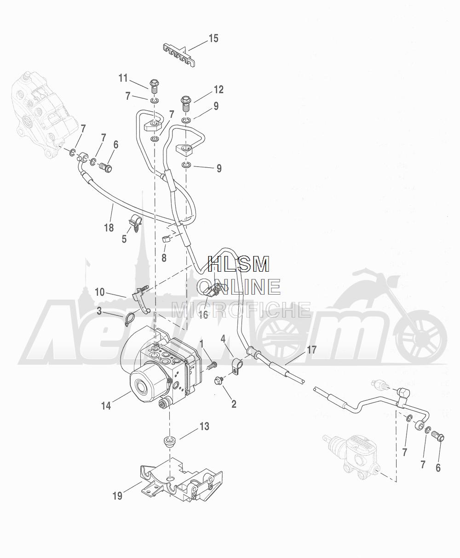 Запчасти для Мотоцикла Harley-Davidson 2016 CVO ROAD GLIDE ULTRA (TA) Раздел: BRAKE - REAR LINES W/ MODULE (ABS) | задний тормоз магистрали вместе с модуль (ABS)