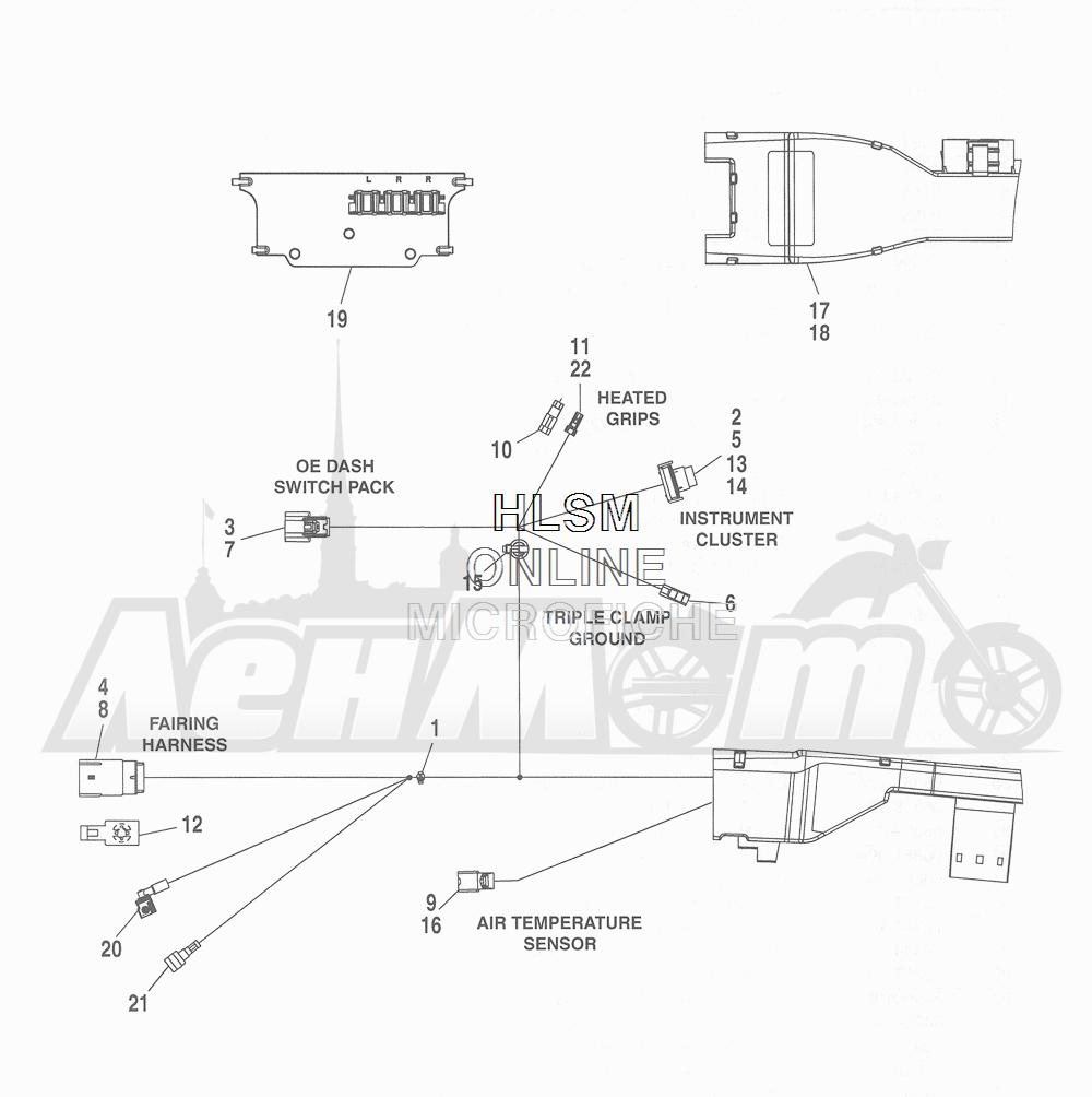 Запчасти для Мотоцикла Harley-Davidson 2016 CVO ROAD GLIDE ULTRA (TA) Раздел: ELECTRICAL - MAIN WIRING HARNESS - 1 | электрика главный электропроводка коса 1