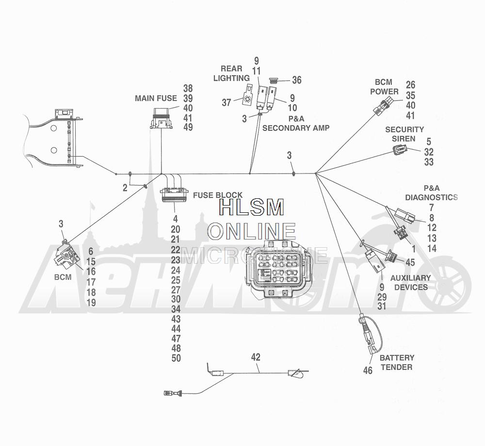 Запчасти для Мотоцикла Harley-Davidson 2016 CVO ROAD GLIDE ULTRA (TA) Раздел: ELECTRICAL - MAIN WIRING HARNESS - 8   электрика главный электропроводка коса 8