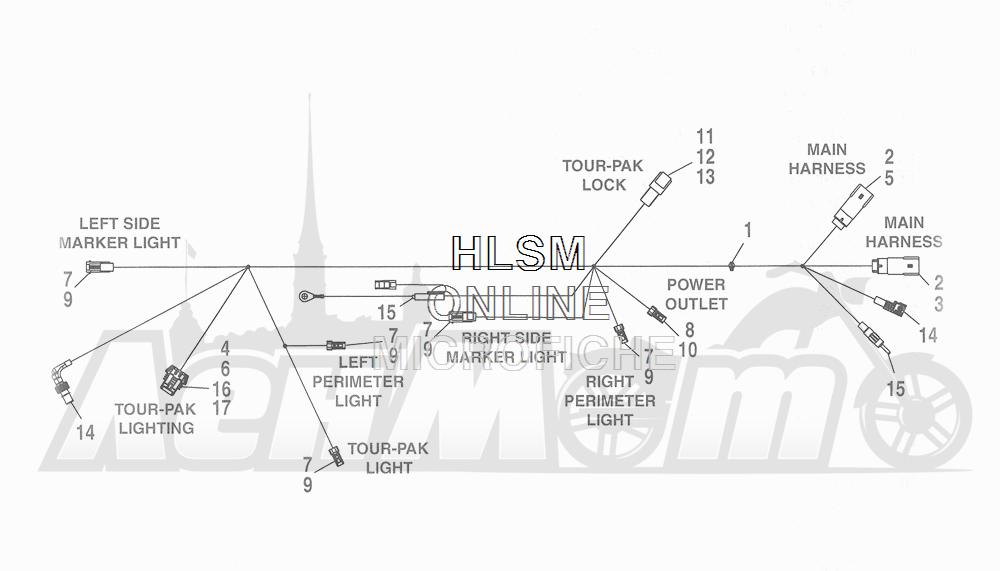 Запчасти для Мотоцикла Harley-Davidson 2016 CVO ROAD GLIDE ULTRA (TA) Раздел: ELECTRICAL - WIRING HARNESS - TOUR-PAK | электрика электропроводка коса тур пакет