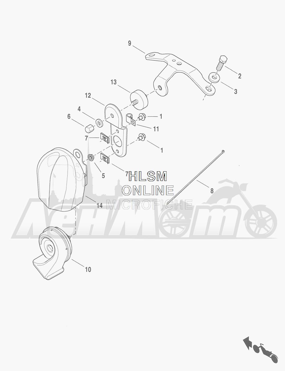 Запчасти для Мотоцикла Harley-Davidson 2016 CVO ROAD GLIDE ULTRA (TA) Раздел: HORN ASSEMBLY | звуковой сигнал, гудок в сборе