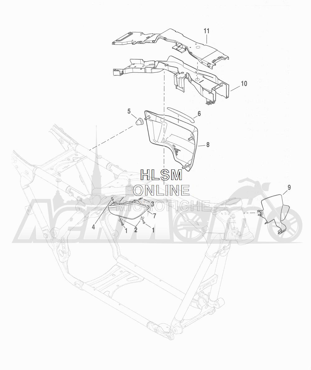 Запчасти для Мотоцикла Harley-Davidson 2016 CVO ROAD GLIDE ULTRA (TA) Раздел: SIDE COVERS W/ DEFLECTORS | боковые крышки вместе с дефлекторы