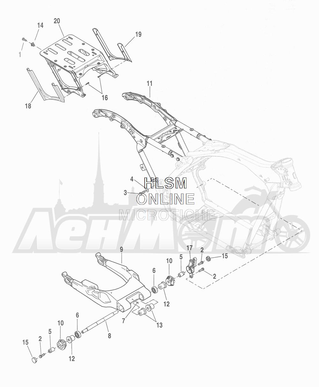 Запчасти для Мотоцикла Harley-Davidson 2016 CVO ROAD GLIDE ULTRA (TA) Раздел: SUSPENSION - REAR FORK W/ LUGGAGE RACK | задняя подвеска вилка вместе с багажник