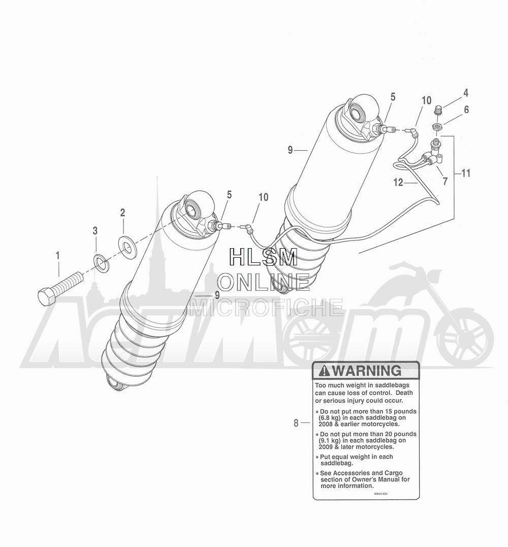 Запчасти для Мотоцикла Harley-Davidson 2016 CVO ROAD GLIDE ULTRA (TA) Раздел: SUSPENSION - REAR SHOCK ABSORBERS  W/ SUSPENSION SYSTEM | задняя подвеска амортизаторы вместе с подвеска система