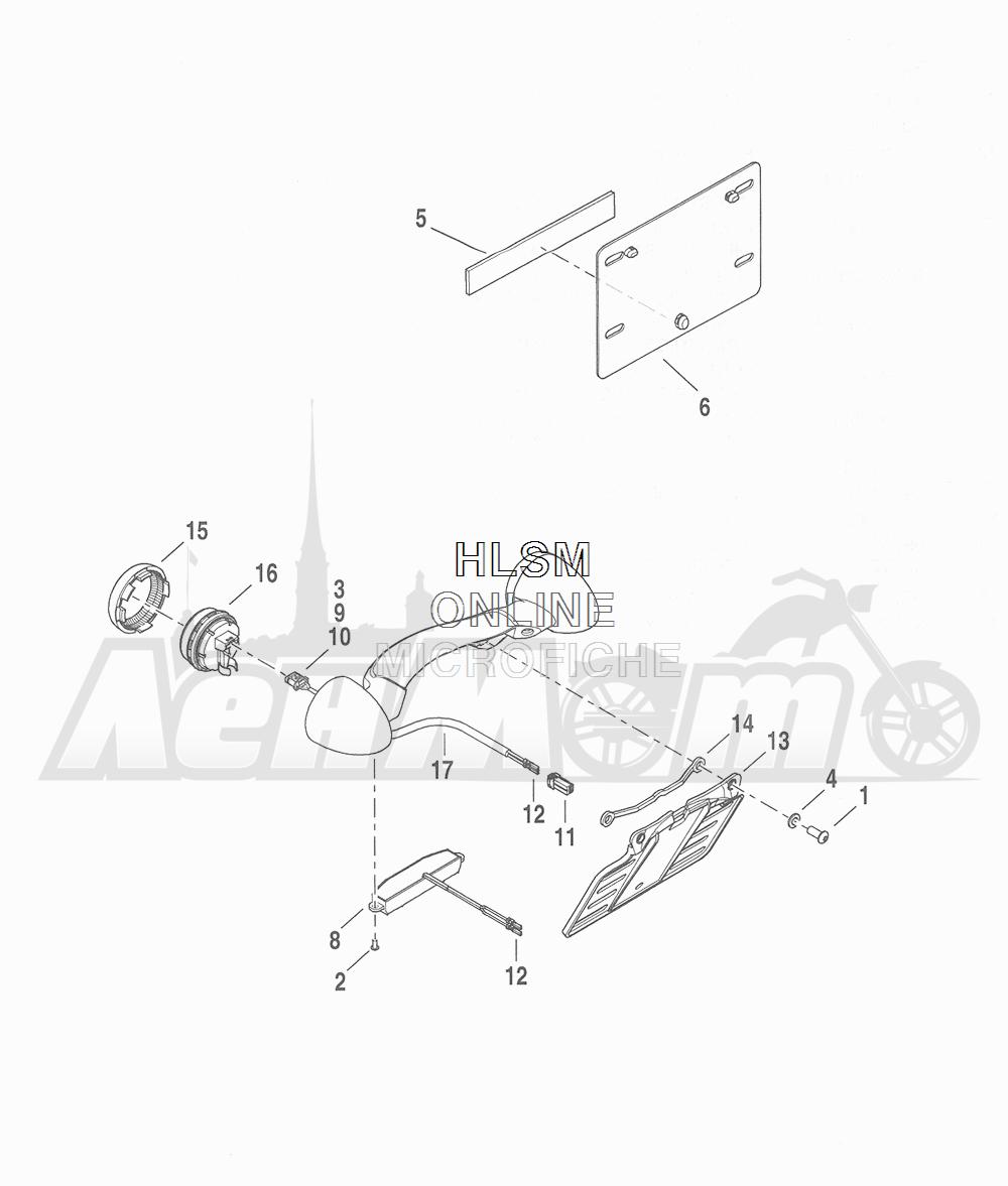 Запчасти для Мотоцикла Harley-Davidson 2016 CVO ROAD GLIDE ULTRA (TA) Раздел: TURN SIGNALS - REAR W/ LICENSE PLATE BRACKET | сигналы поворота зад вместе с площадка номерного знака опора, кронштейн
