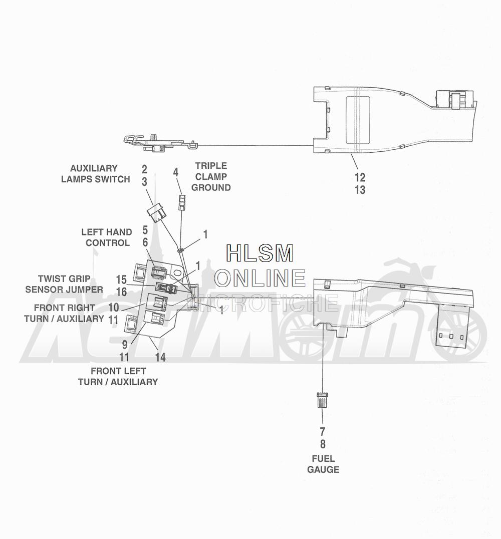Запчасти для Мотоцикла Harley-Davidson 2016 FLHR ROAD KING (FBM) Раздел: WIRING HARNESS_ MAIN - ABS (NON-FAIRING MODELS) - 1 | электропроводка главный жгут ABS (не модели с обтекателем) 1