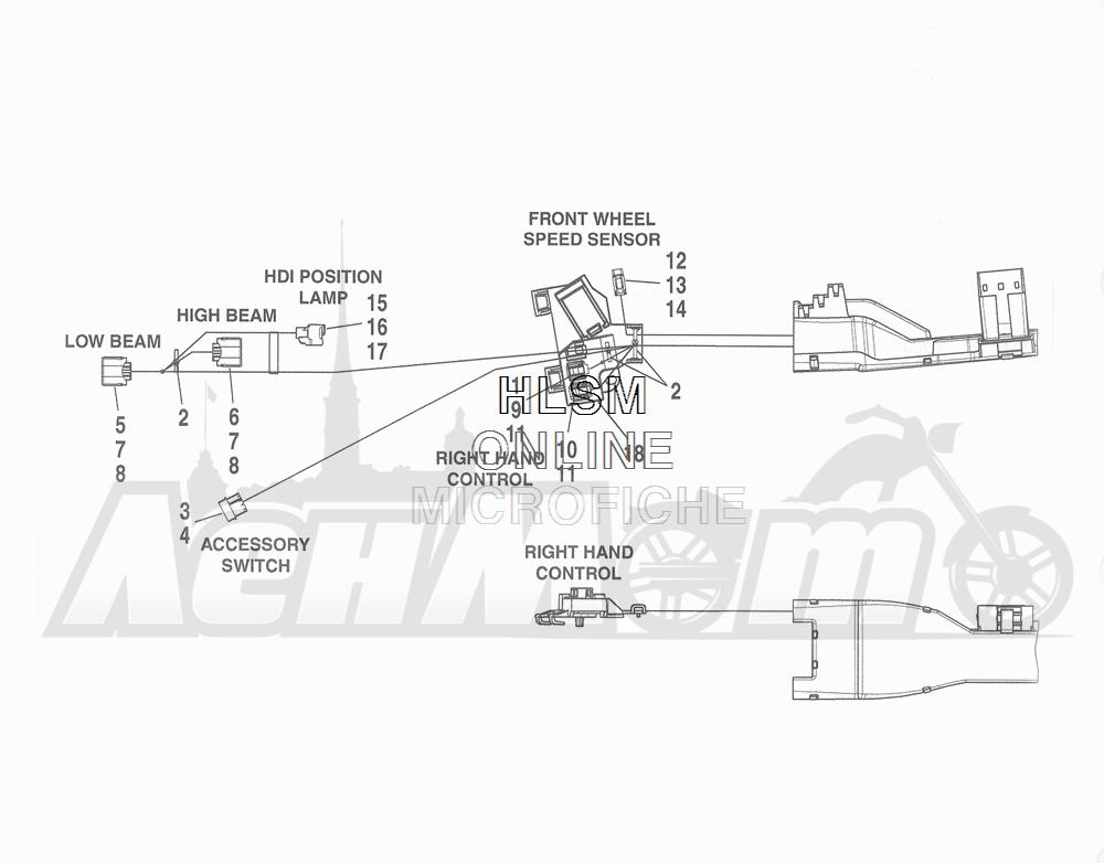 Запчасти для Мотоцикла Harley-Davidson 2016 FLHR ROAD KING (FBM) Раздел: WIRING HARNESS_ MAIN - ABS (NON-FAIRING MODELS) - 2 | электропроводка главный жгут ABS (не модели с обтекателем) 2