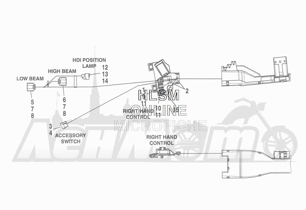 Запчасти для Мотоцикла Harley-Davidson 2016 FLHR ROAD KING (FBM) Раздел: WIRING HARNESS_ MAIN - NON-ABS (NON-FAIRING MODELS) - 2 | электропроводка главный жгут не ABS (не модели с обтекателем) 2