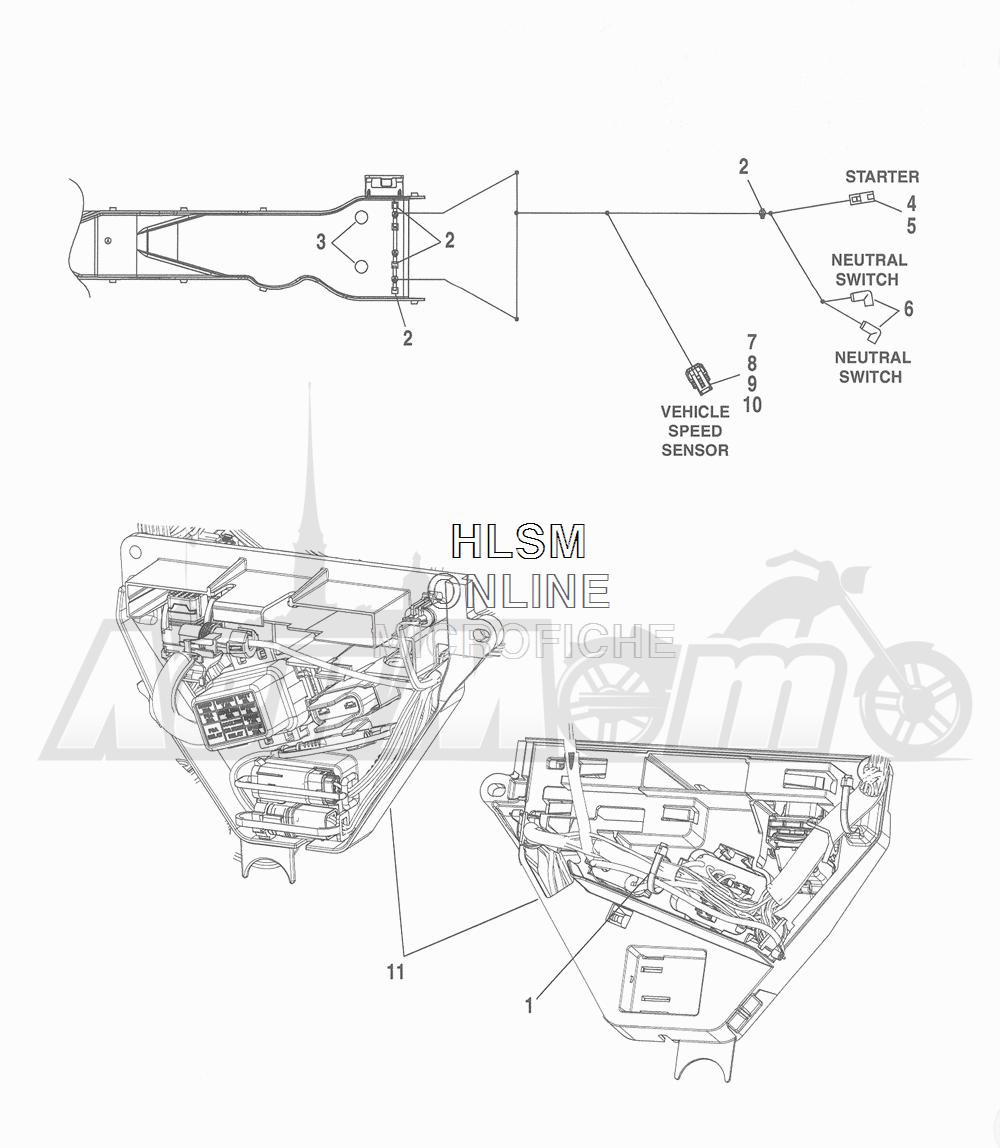 Запчасти для Мотоцикла Harley-Davidson 2016 FLHR ROAD KING (FBM) Раздел: WIRING HARNESS_ MAIN - NON-ABS (NON-FAIRING MODELS) - 6 | электропроводка главный жгут не ABS (не модели с обтекателем) 6