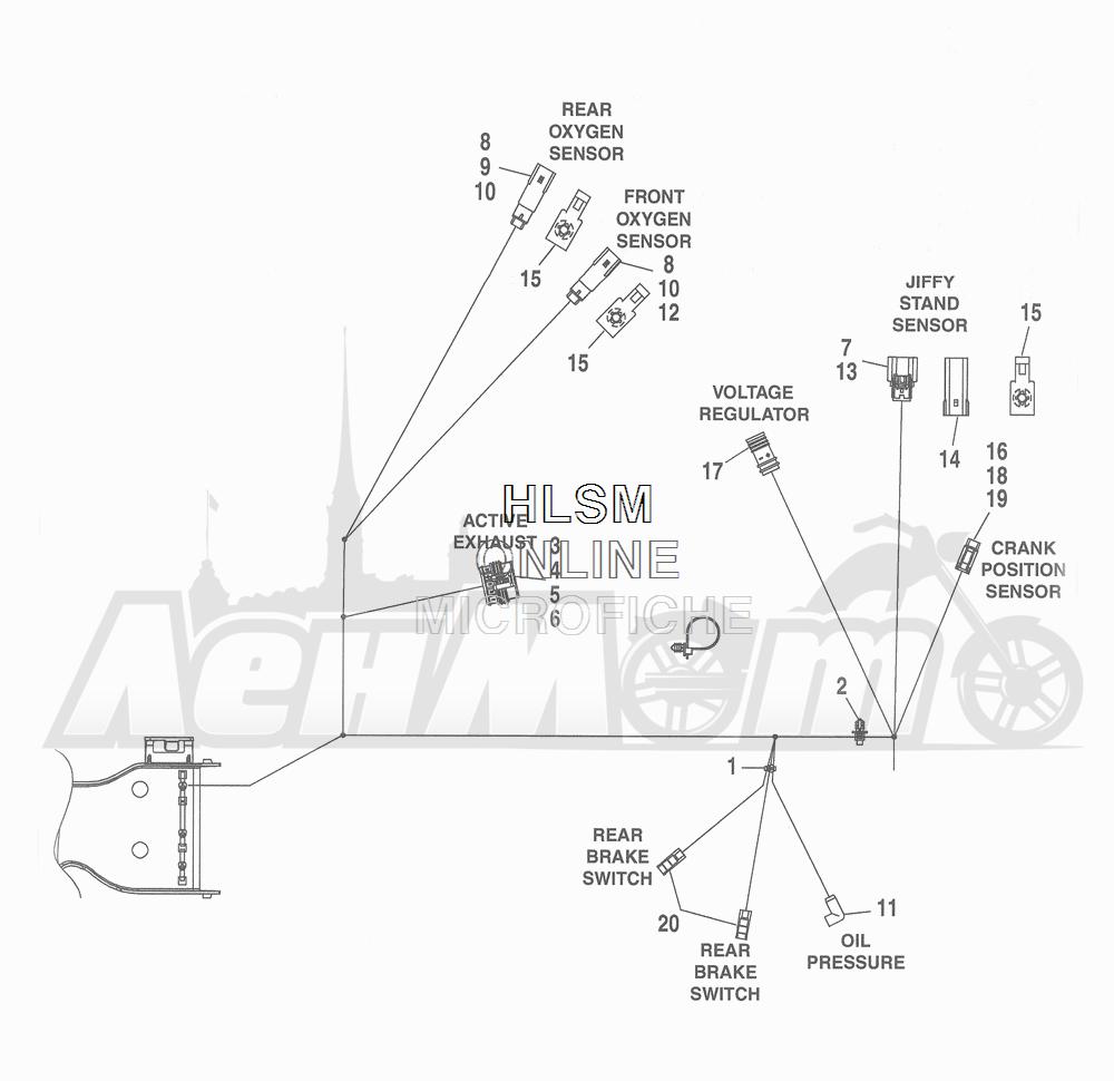 Запчасти для Мотоцикла Harley-Davidson 2016 FLHR ROAD KING (FBM) Раздел: WIRING HARNESS_ MAIN - NON-ABS (NON-FAIRING MODELS) - 7 | электропроводка главный жгут не ABS (не модели с обтекателем) 7