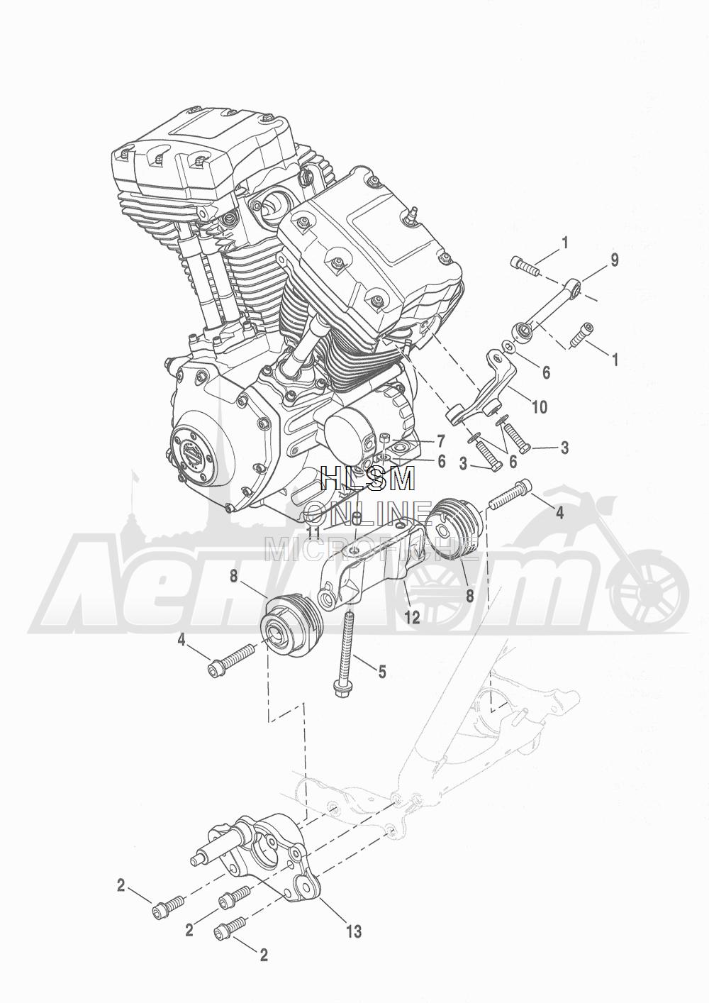 Запчасти для Мотоцикла Harley-Davidson 2016 FLHR ROAD KING (FBM) Раздел: ENGINE MOUNTS W/ STABILIZER LINK | опоры двигателя вместе с стабилизатор