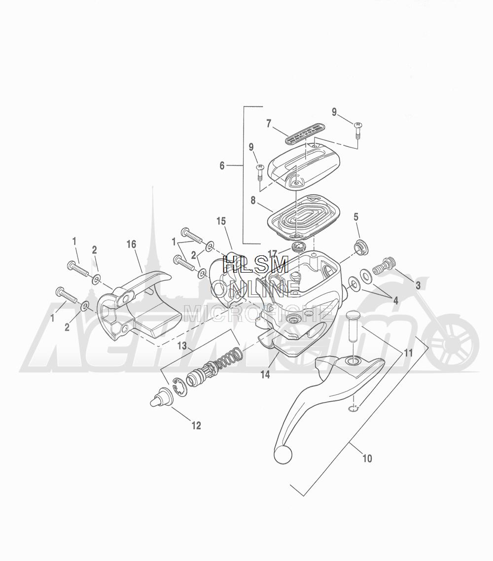 Запчасти для Мотоцикла Harley-Davidson 2016 FLHR ROAD KING (FBM) Раздел: BRAKE - FRONT BRAKE CYLINDER ASSEMBLY W/ LEVER | передний тормоз тормоза цилиндр в сборе вместе с рычаг