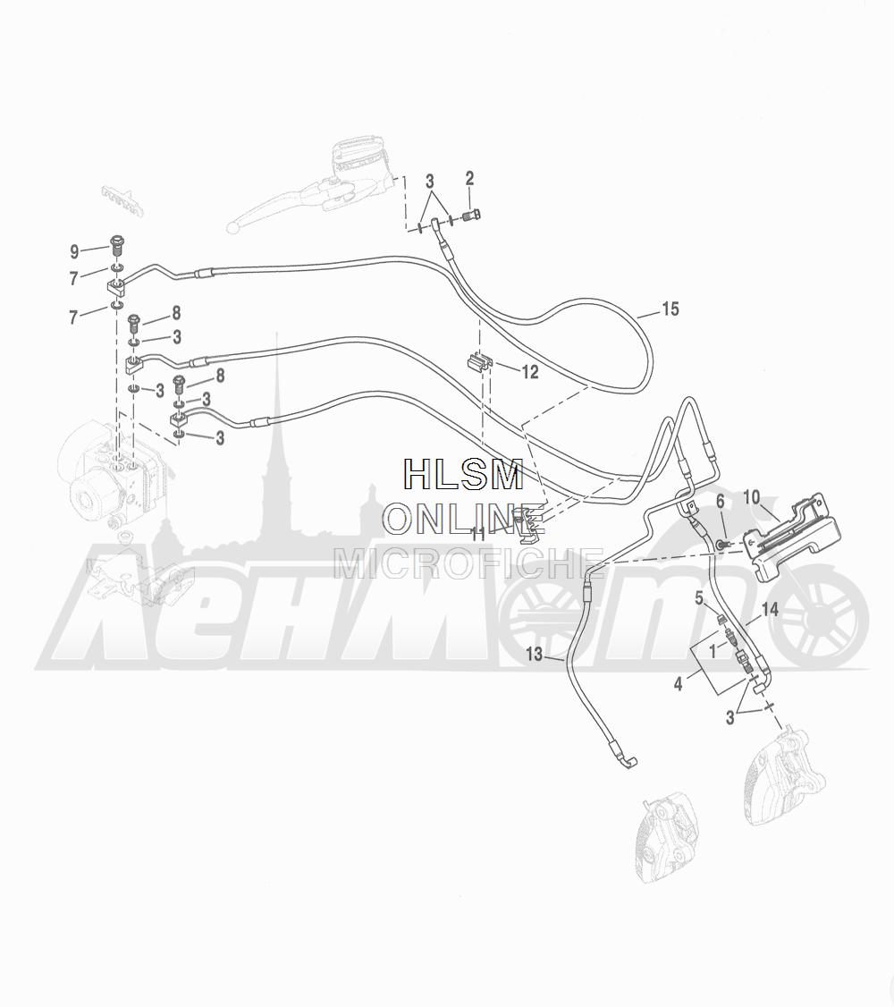 Запчасти для Мотоцикла Harley-Davidson 2016 FLHR ROAD KING (FBM) Раздел: BRAKE - FRONT LINE (ABS)   передний тормоз магистраль (ABS)