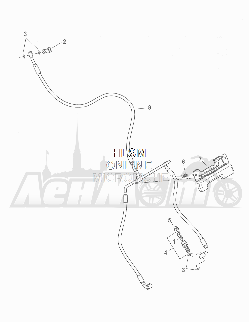 Запчасти для Мотоцикла Harley-Davidson 2016 FLHR ROAD KING (FBM) Раздел: BRAKE - FRONT LINE (NON-ABS) | передний тормоз магистраль (не ABS)