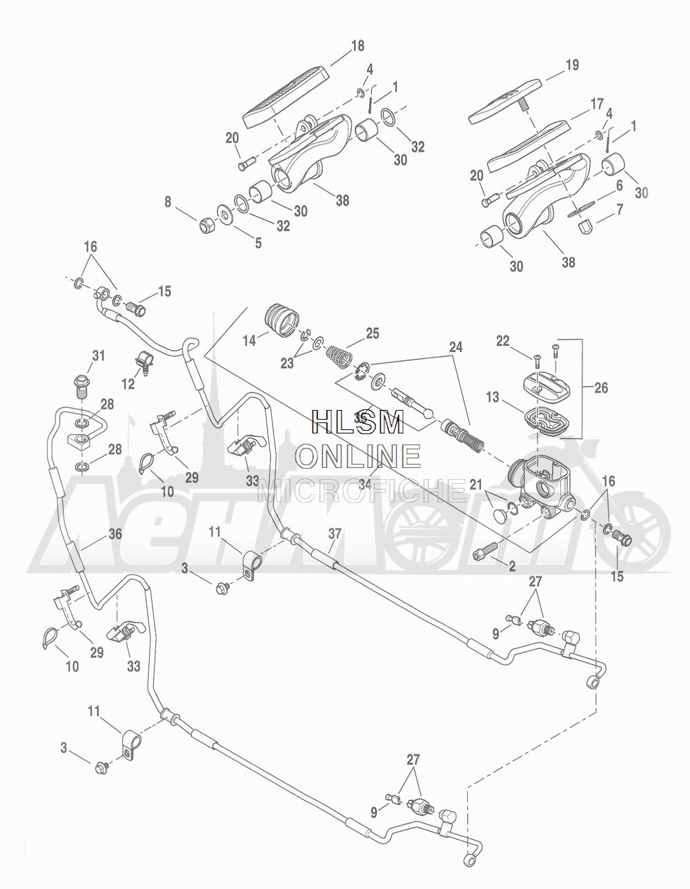 Запчасти для Мотоцикла Harley-Davidson 2016 FLHR ROAD KING (FBM) Раздел: BRAKE - REAR BRAKE CYLINDER W/ PEDAL | задний тормоз тормоза цилиндр вместе с педаль