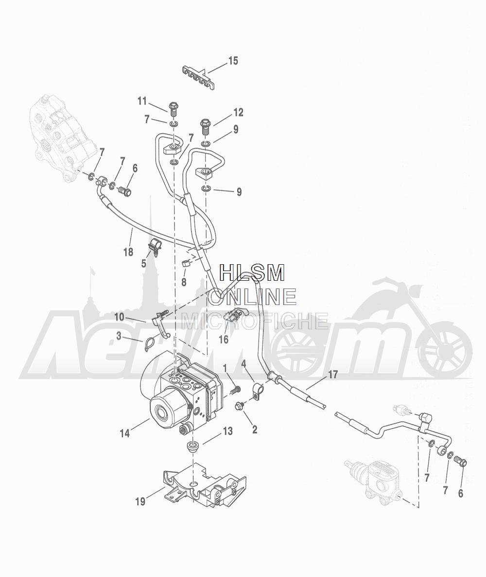 Запчасти для Мотоцикла Harley-Davidson 2016 FLHR ROAD KING (FBM) Раздел: BRAKE - REAR LINES W/ MODULE (ABS) | задний тормоз магистрали вместе с модуль (ABS)