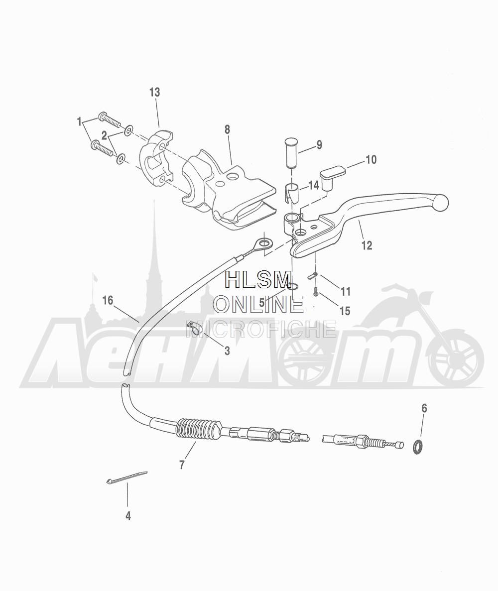 Запчасти для Мотоцикла Harley-Davidson 2016 FLHR ROAD KING (FBM) Раздел: CLUTCH - CONTROL (NON-FAIRING MODELS) | сцепление управление (не модели с обтекателем)