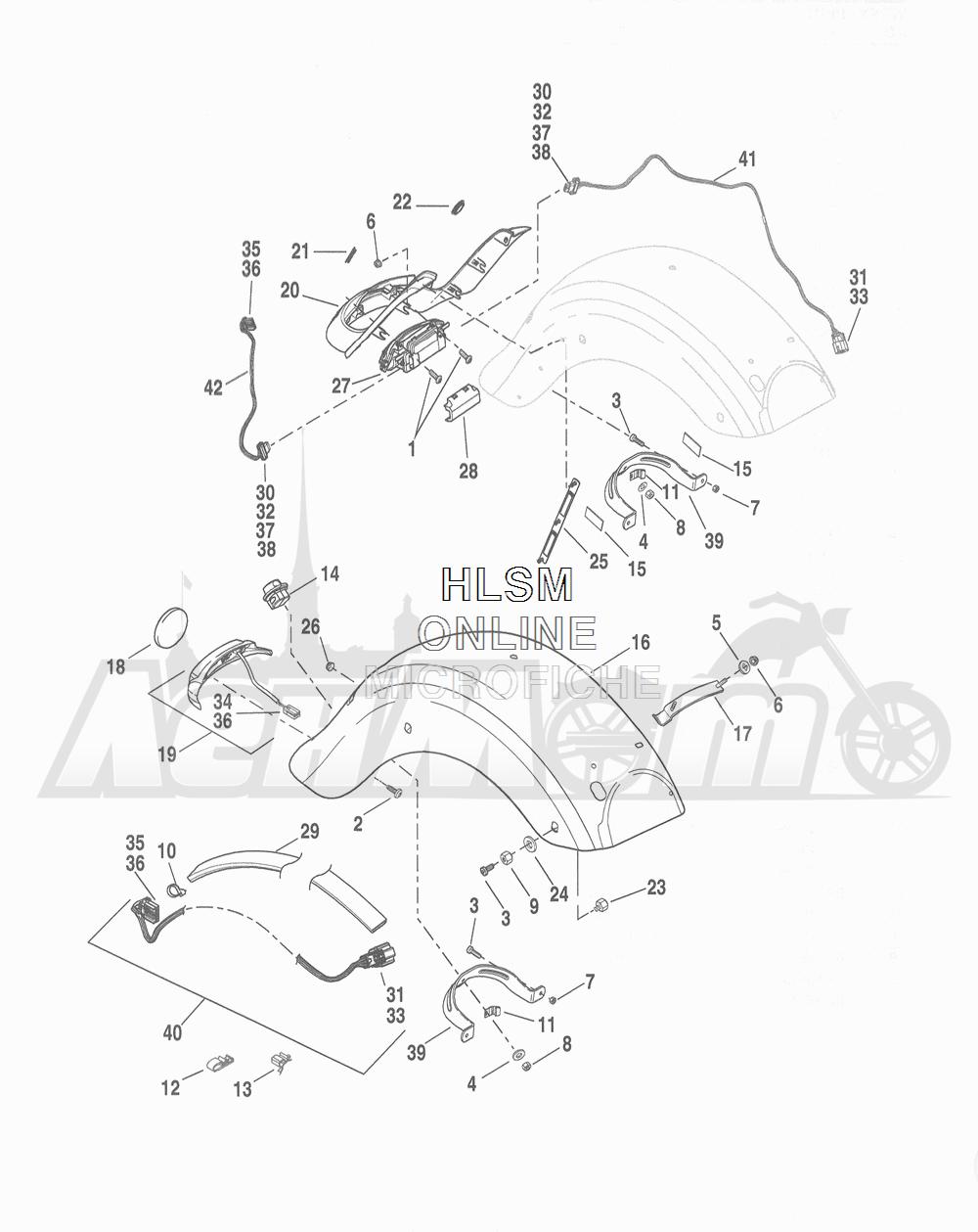 Запчасти для Мотоцикла Harley-Davidson 2016 FLHR ROAD KING (FBM) Раздел: FENDER - REAR | заднее крыло