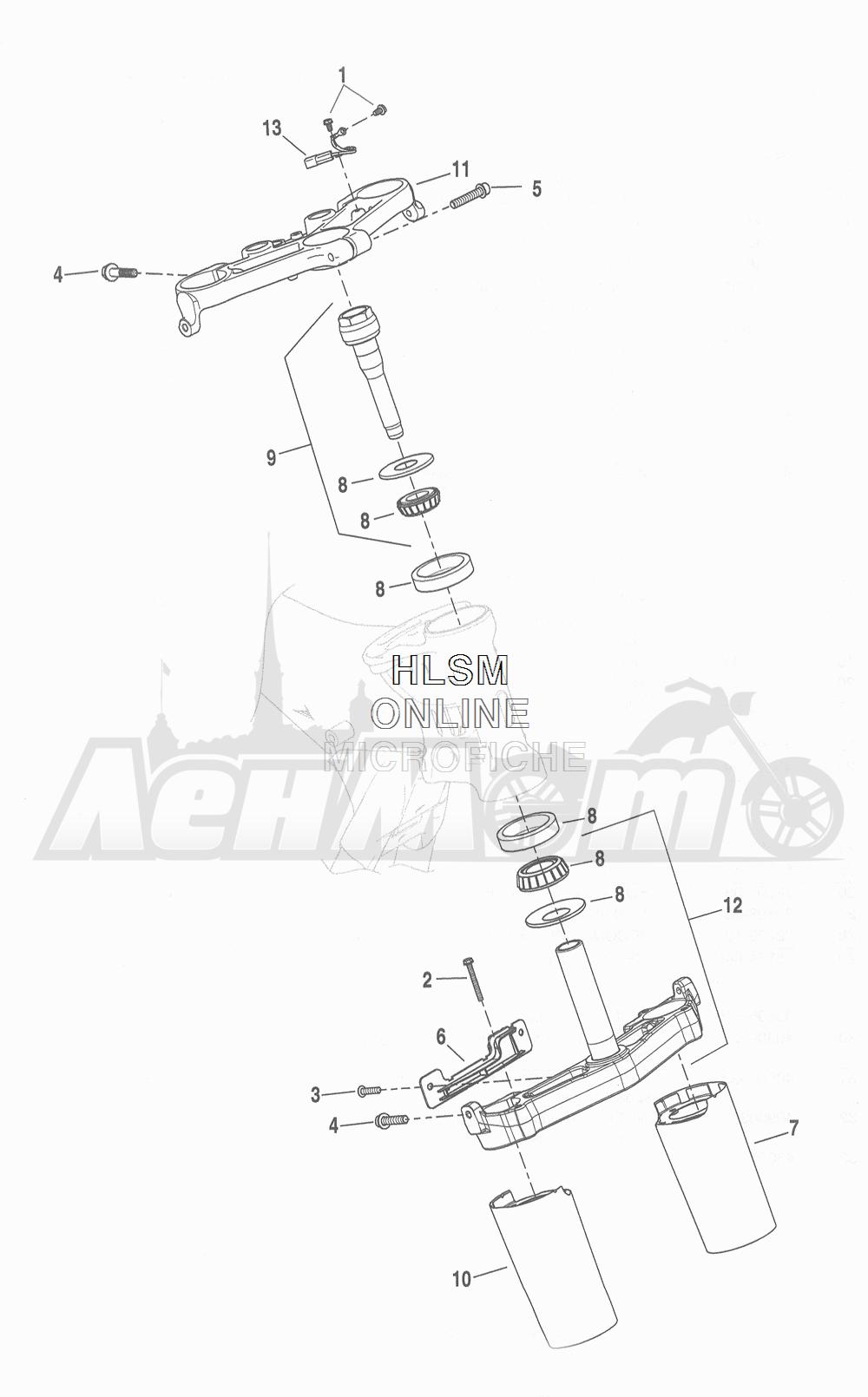 Запчасти для Мотоцикла Harley-Davidson 2016 FLHR ROAD KING (FBM) Раздел: SUSPENSION - FRONT FORK BRACKETS | передняя подвеска вилка кронштейны