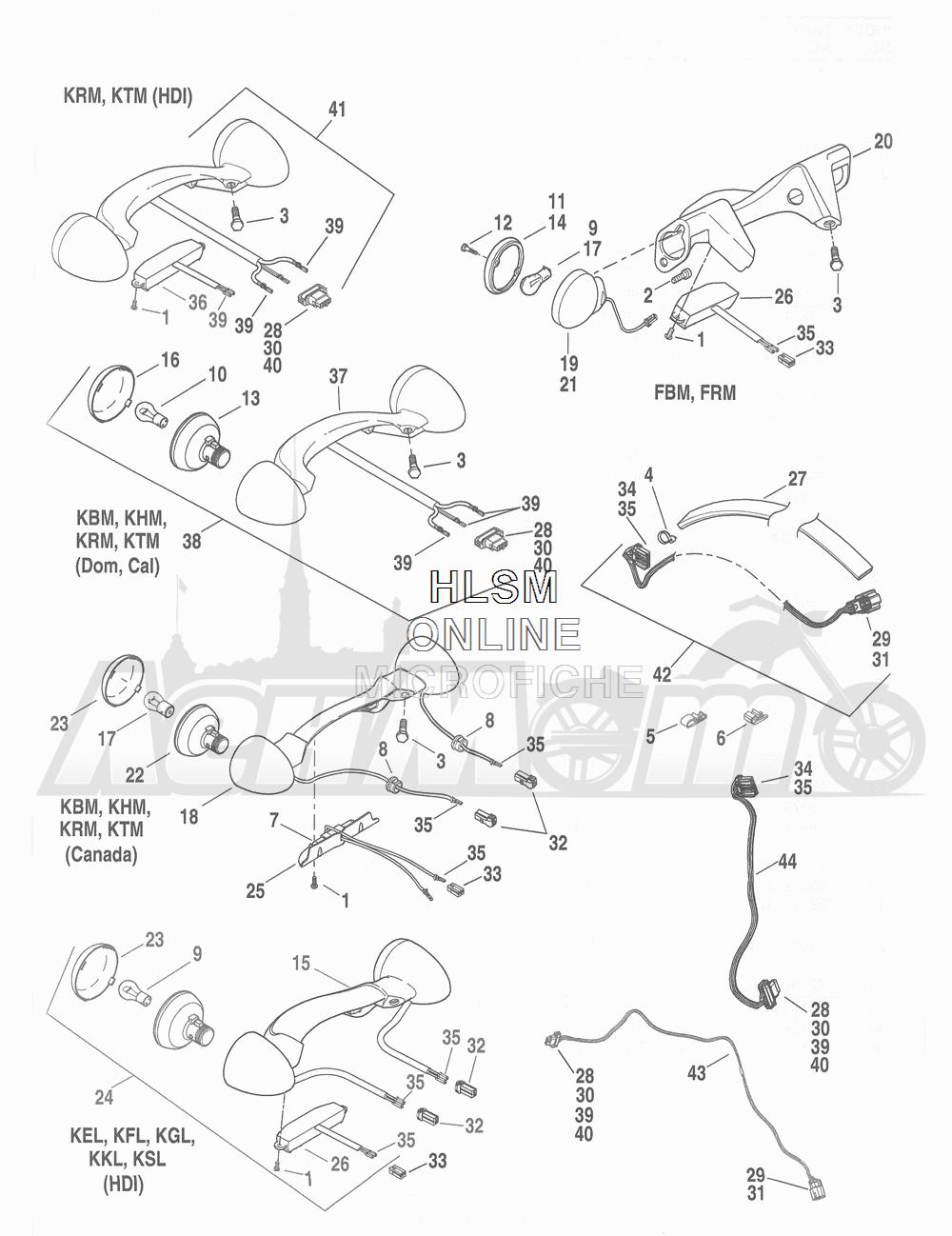 Запчасти для Мотоцикла Harley-Davidson 2016 FLHR ROAD KING (FBM) Раздел: TURN SIGNALS - REAR W/ TAIL LIGHT - REAR | сигналы поворота зад вместе с задний фонарь зад