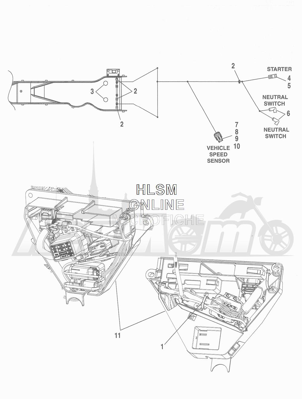 Запчасти для Мотоцикла Harley-Davidson 2016 FLHRC ROAD KING CLASSIC (FRM) Раздел: WIRING HARNESS_ MAIN - ABS (NON-FAIRING MODELS) - 6 | электропроводка главный жгут ABS (не модели с обтекателем) 6
