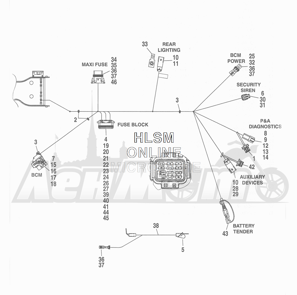 Запчасти для Мотоцикла Harley-Davidson 2016 FLHRC ROAD KING CLASSIC (FRM) Раздел: WIRING HARNESS_ MAIN - ABS (NON-FAIRING MODELS) - 8 | электропроводка главный жгут ABS (не модели с обтекателем) 8