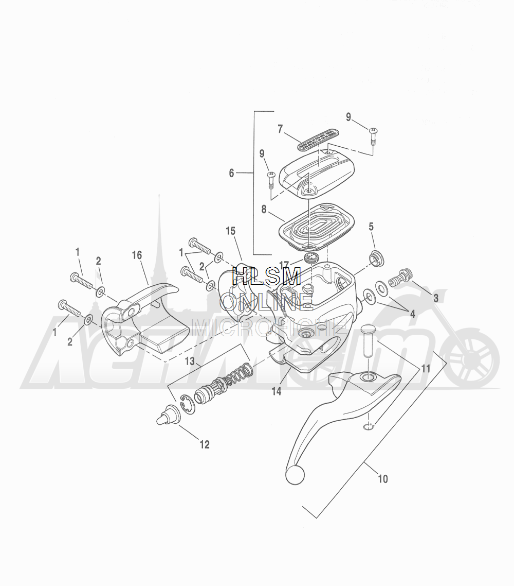 Запчасти для Мотоцикла Harley-Davidson 2016 FLHRC ROAD KING CLASSIC (FRM) Раздел: BRAKE - FRONT BRAKE CYLINDER ASSEMBLY W/ LEVER   передний тормоз тормоза цилиндр в сборе вместе с рычаг
