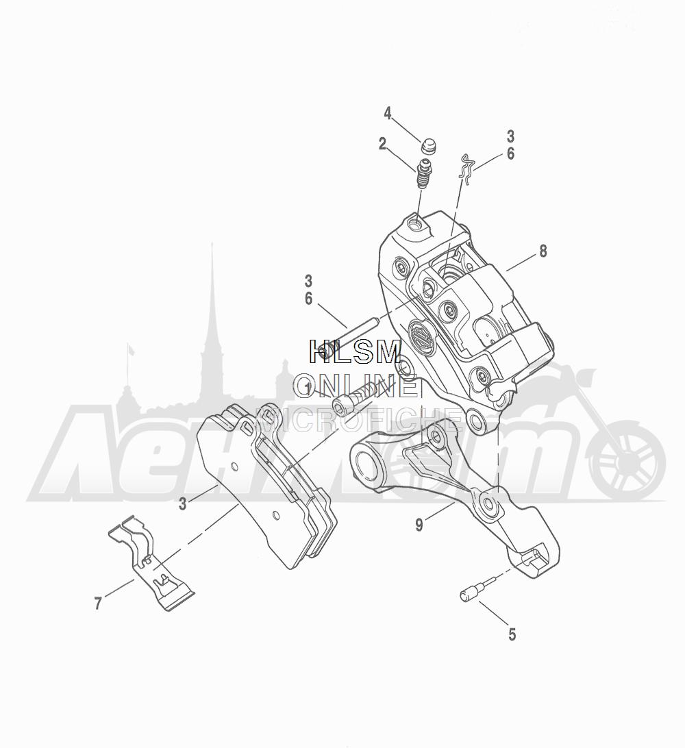 Запчасти для Мотоцикла Harley-Davidson 2016 FLHRC ROAD KING CLASSIC (FRM) Раздел: BRAKE - REAR BRAKE CALIPER ASSEMBLY | задний тормоз тормозной суппорт в сборе