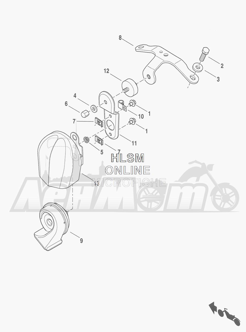 Запчасти для Мотоцикла Harley-Davidson 2016 FLHRC ROAD KING CLASSIC (FRM) Раздел: HORN ASSEMBLY | звуковой сигнал, гудок в сборе