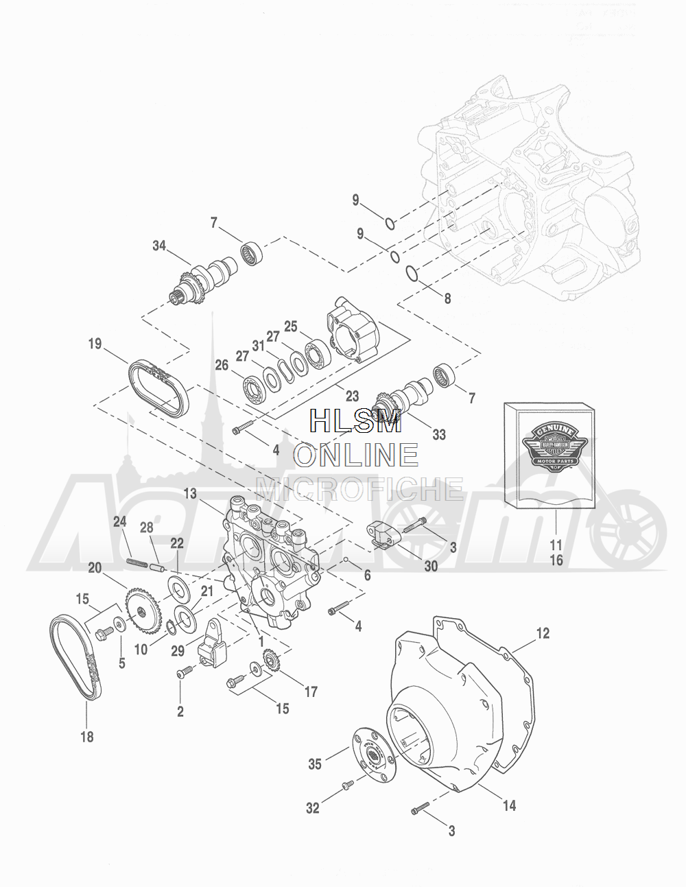 Запчасти для Мотоцикла Harley-Davidson 2016 FLHTCU 103 ULTRA CLASSIC ELECTRAGLIDE (FCM) Раздел: CAMSHAFTS W/ CAMSHAFT COVER | распредвалы вместе с распредвал крышка