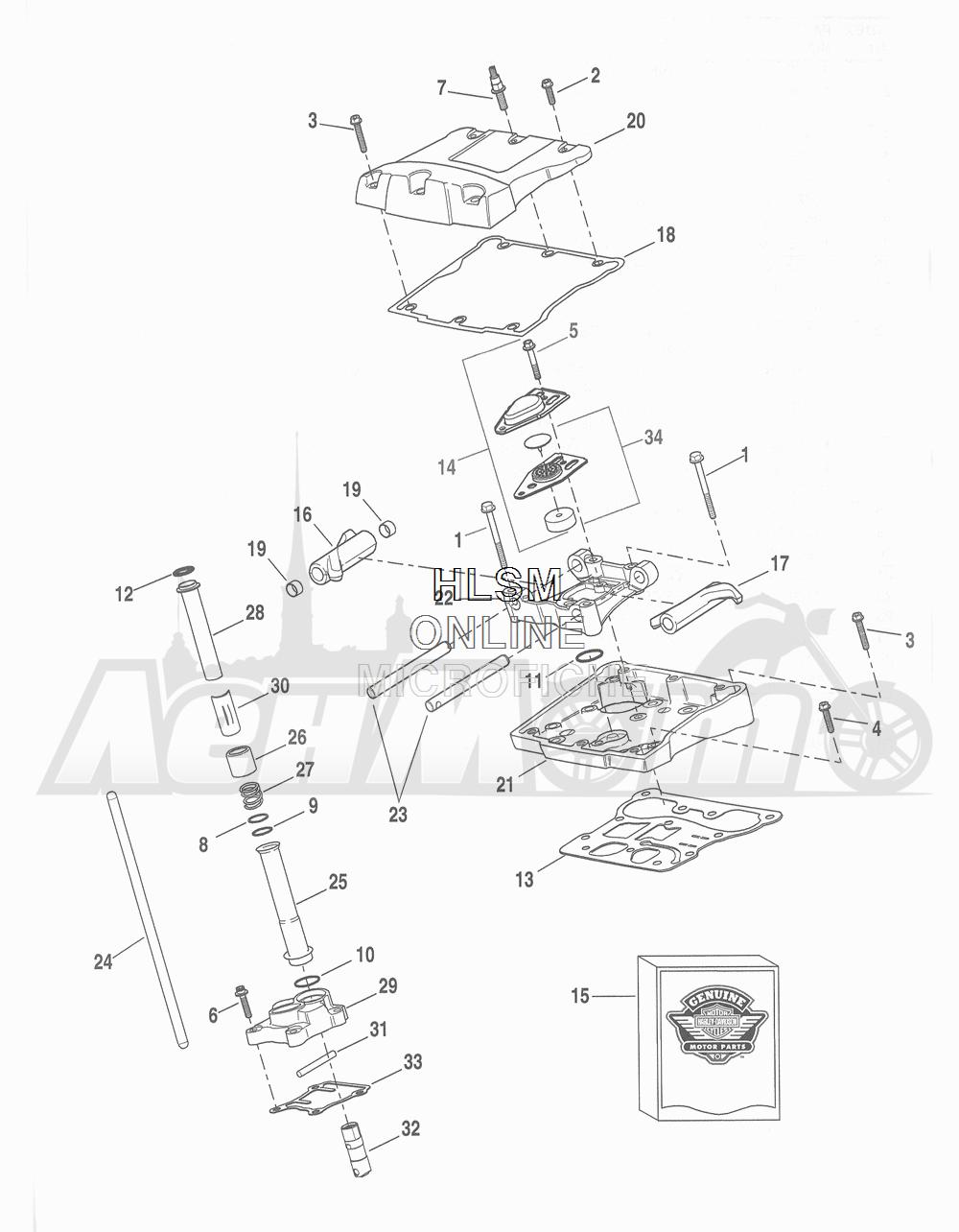 Запчасти для Мотоцикла Harley-Davidson 2016 FLHTCU 103 ULTRA CLASSIC ELECTRAGLIDE (FCM) Раздел: ROCKER ARM ASSEMBLY W/ PUSHRODS   коромысло (рокер) клапана в сборе вместе с толкатели
