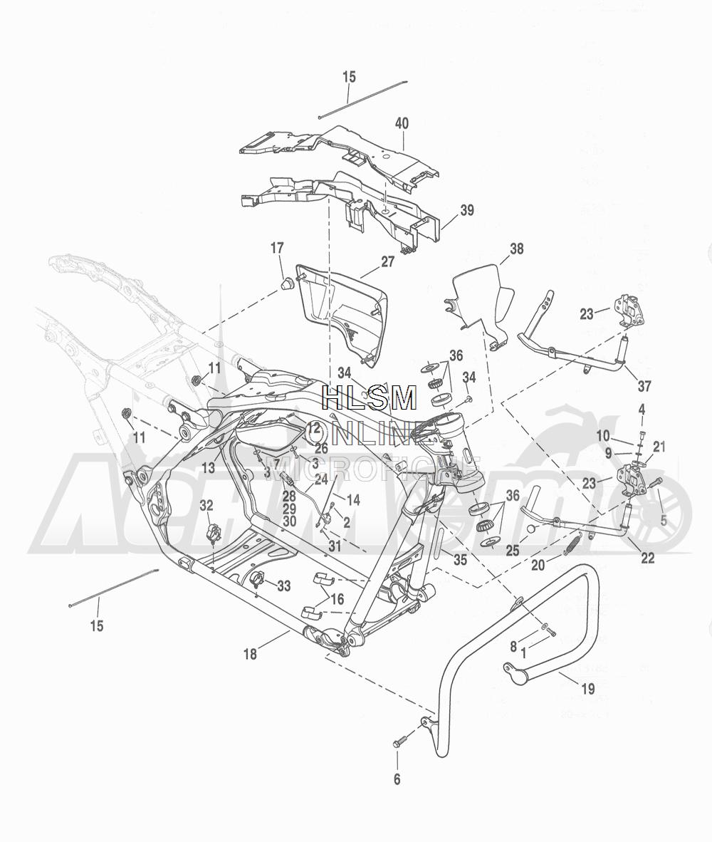 Запчасти для Мотоцикла Harley-Davidson 2016 FLHTCU 103 ULTRA CLASSIC ELECTRAGLIDE (FCM) Раздел: FRAME ASSEMBLY W/  JIFFY STAND | рама в сборе вместе с боковая подставка