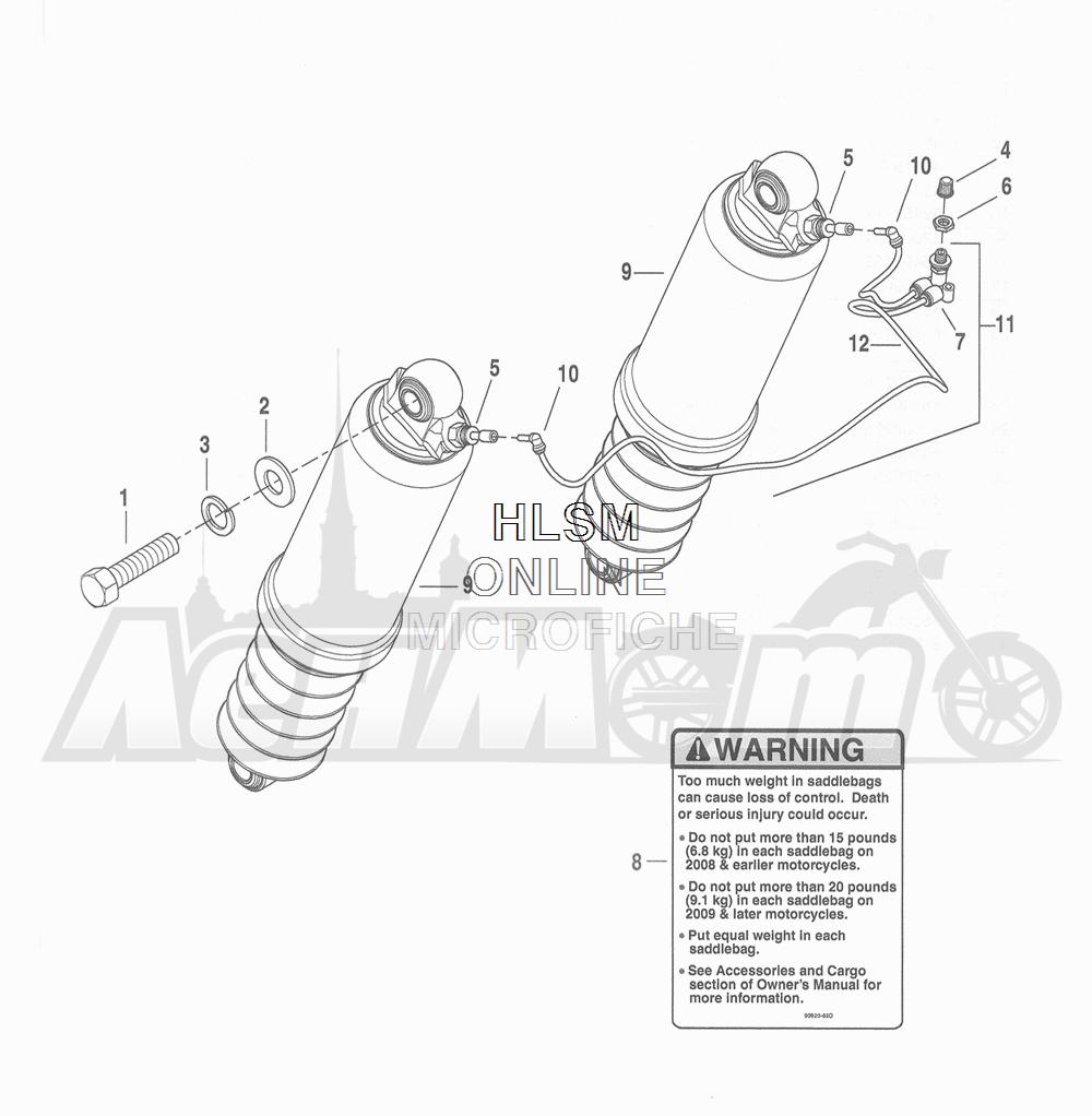 Запчасти для Мотоцикла Harley-Davidson 2016 FLHTCU 103 ULTRA CLASSIC ELECTRAGLIDE (FCM) Раздел: SUSPENSION - REAR SHOCK ABSORBERS  W/ SUSPENSION SYSTEM | задняя подвеска амортизаторы вместе с подвеска система