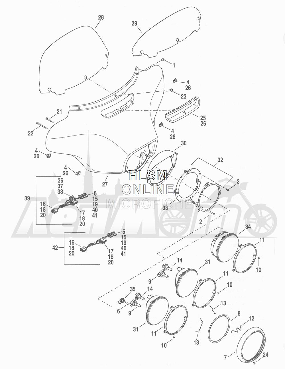 Запчасти для Мотоцикла Harley-Davidson 2016 FLHTCU 103 ULTRA CLASSIC ELECTRAGLIDE (FCM) Раздел: WINDSHIELDW/ FAIRING AND HEADLIGHT ASSEMBLY | WINDSHIELDw/ обтекатель и передняя фара в сборе
