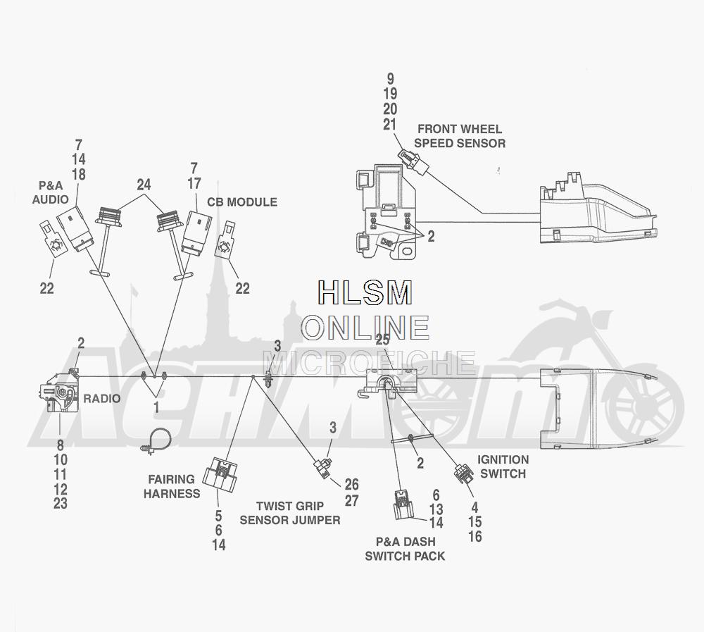 Запчасти для Мотоцикла Harley-Davidson 2016 FLHTCU TC ELECTRA GLIDE ULTRA CLASSIC (KSL) Раздел: WIRING HARNESS_ MAIN - ABS (FAIRING MODELS) - 2 | электропроводка главный жгут ABS (модели с обтекателем) 2