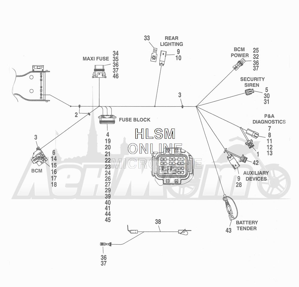 Запчасти для Мотоцикла Harley-Davidson 2016 FLHTCU TC ELECTRA GLIDE ULTRA CLASSIC (KSL) Раздел: WIRING HARNESS_ MAIN - ABS (FAIRING MODELS) - 8 | электропроводка главный жгут ABS (модели с обтекателем) 8