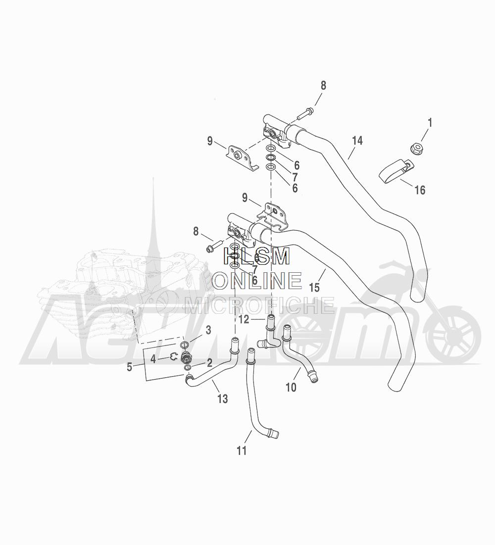 Запчасти для Мотоцикла Harley-Davidson 2016 FLHTCU TC ELECTRA GLIDE ULTRA CLASSIC (KSL) Раздел: COOLING SYSTEM - ENGINE LINES   система охлаждения двигатель магистрали