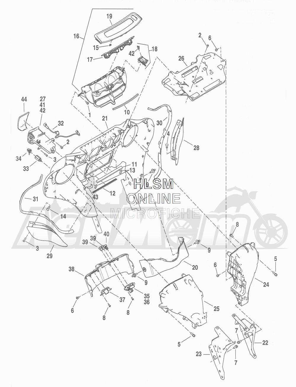 Запчасти для Мотоцикла Harley-Davidson 2016 FLHTCU TC ELECTRA GLIDE ULTRA CLASSIC (KSL) Раздел: FAIRING INNER | обтекатель внутренний