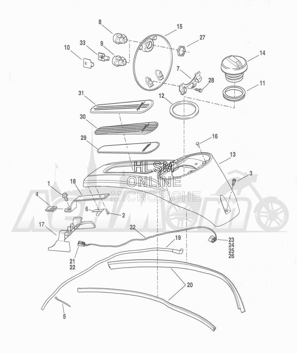Запчасти для Мотоцикла Harley-Davidson 2016 FLHTCU TC ELECTRA GLIDE ULTRA CLASSIC (KSL) Раздел: FUEL TANK - SPEEDOMETER | топливный бак спидометр