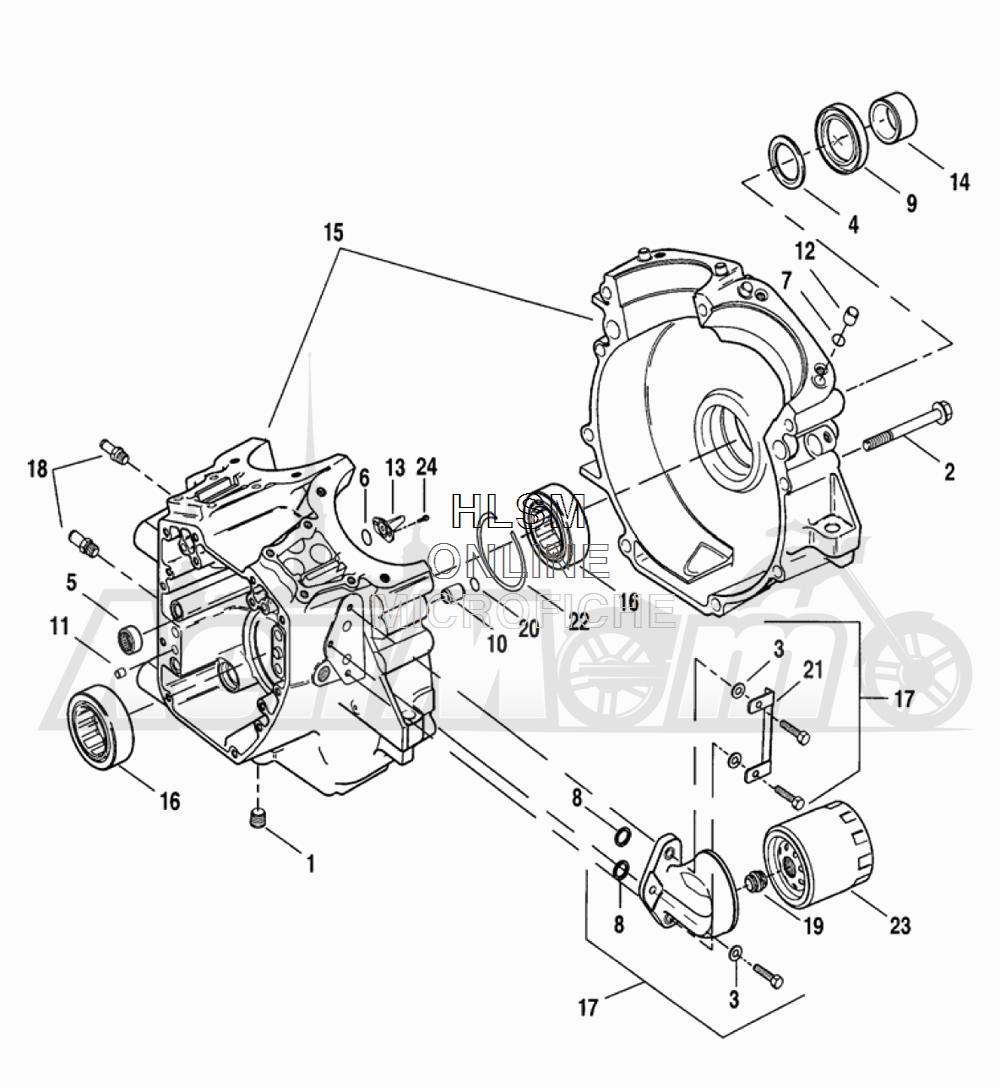 Запчасти для Мотоцикла Harley-Davidson 2005 FLTRI ROAD GLIDE® (INJECTION) (FS) Раздел: CRANKCASE ASSEMBLY W/ OIL FILTER | картер в сборе вместе с масляный фильтр