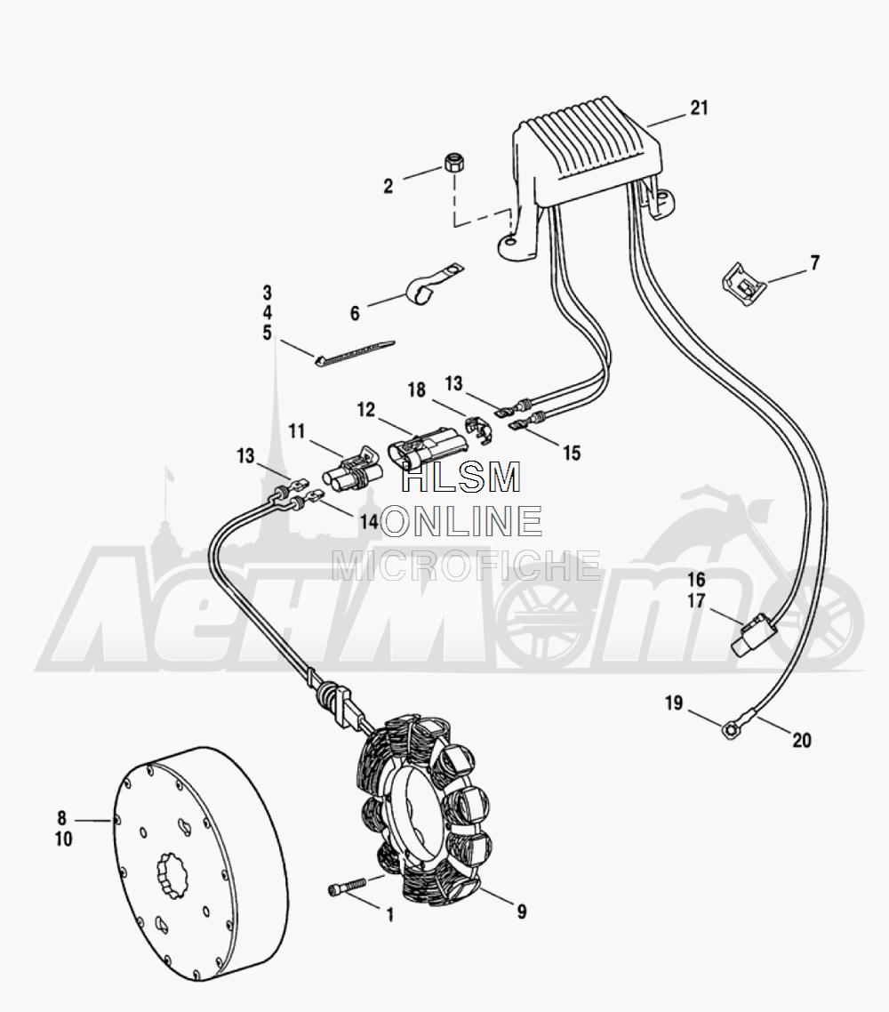 Запчасти для Мотоцикла Harley-Davidson 2005 FLTRI ROAD GLIDE® (INJECTION) (FS) Раздел: ELECTRICAL - ALTERNATOR W/ VOLTAGE REGULATOR | электрика генератор вместе с регулятор напряжения