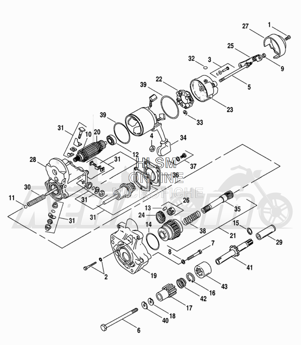 Запчасти для Мотоцикла Harley-Davidson 2005 FLTRI ROAD GLIDE® (INJECTION) (FS) Раздел: ELECTRICAL - STARTER ASSEMBLY | электрика стартер в сборе
